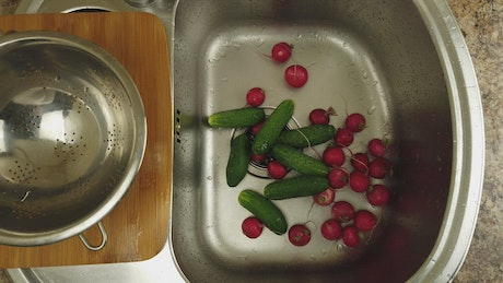 Washing vegetables before cooking