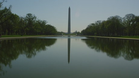Washington Monument reflecting on the water