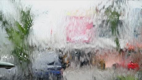Water flowing down a window