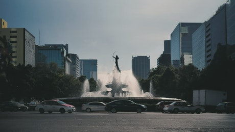 Water fountain statue at roundabout