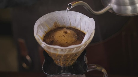 Water poured into a coffee filter