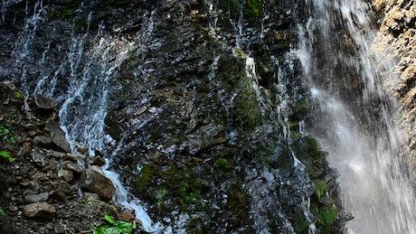 Water tumbling down rocks