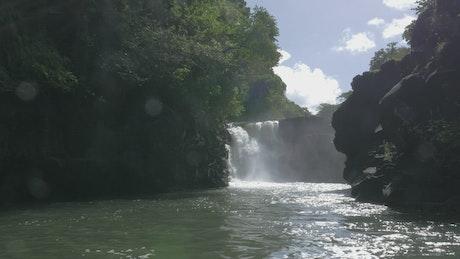 Waterfall and volcanic rocks