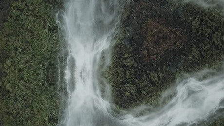 Waterfall seen from above in the forest