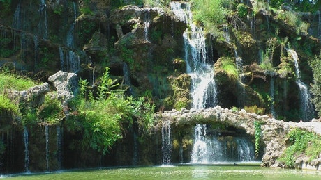 Waterfalls on a beautiful lake