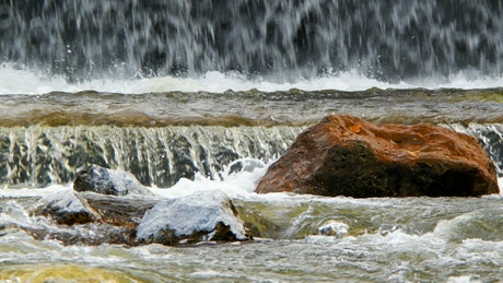 Waterfalls on the rocks of a river