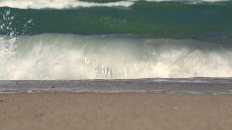 Waves and seaweed washing ashore