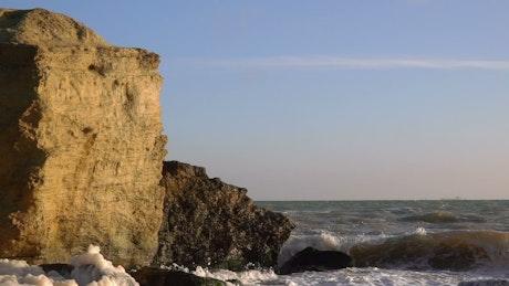 Waves crashing at the rocks