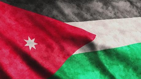 Waving 3D flag of Jordan