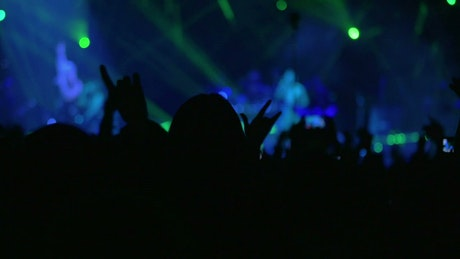 Waving hands in the air at a concert
