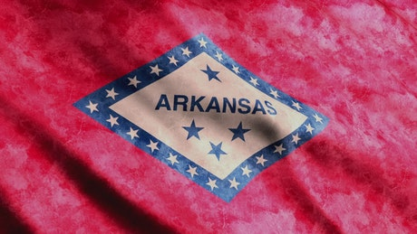 Waving red flag of Arkansas