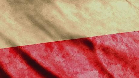 Weathered flag of Poland waving