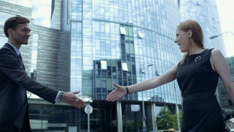 Welcoming a business partner with a handshake