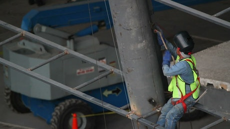 Welder working at a construction