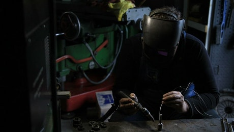 Welding in an industrial workshop
