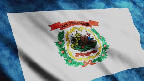 West Virginia State flag waving in 3D