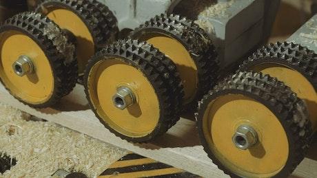 Wheels in a woodshop