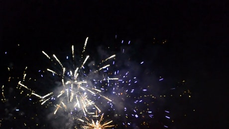 White and gold fireworks