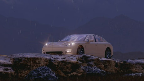White luxury sports car in a winter environment