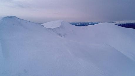 White snowy mountains, aerial shot