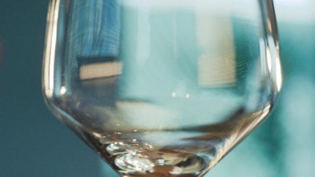 White wine poured