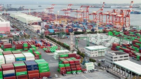 Wide container area on a cargo ship shoreline