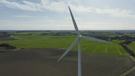 Wind turbine in farmland