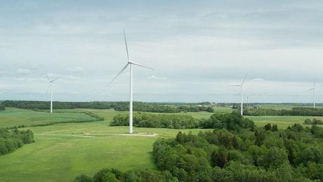 Wind turbine installations across a field