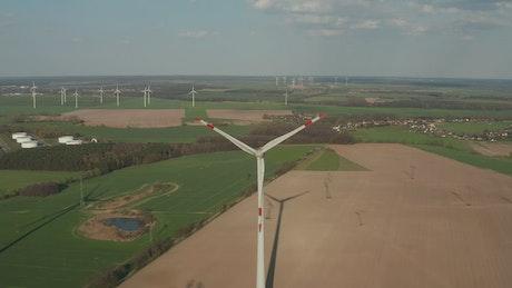 Wind turbine working in the countryside