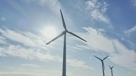 Wind turbines and a blue sky