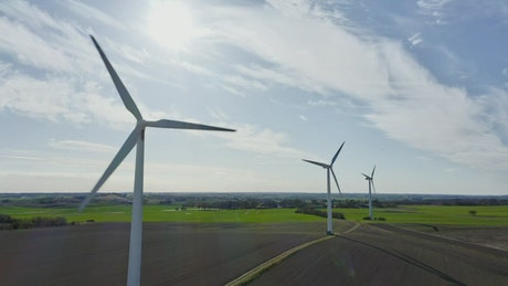 Wind turbines during the summer
