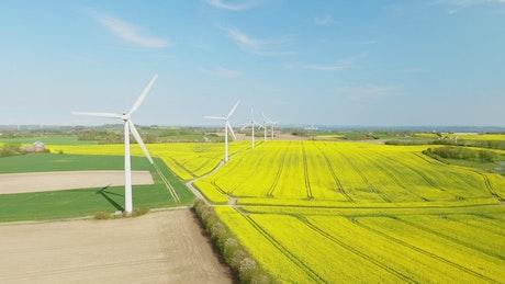 Wind turbines in the sun