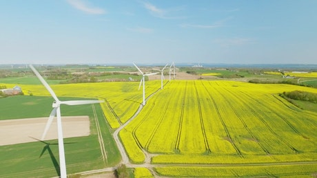 Wind turbines spinning quickly