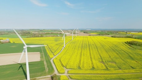 Wind turbines turning quickly