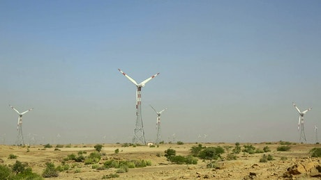 Windmills moving in the countryside