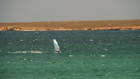 Windsurfing along the coast