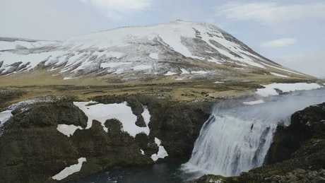 Windswept waterfall
