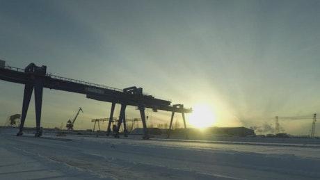 Winter snowfall across a port