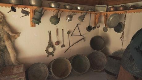 Wolfskin hanging in an old kitchen