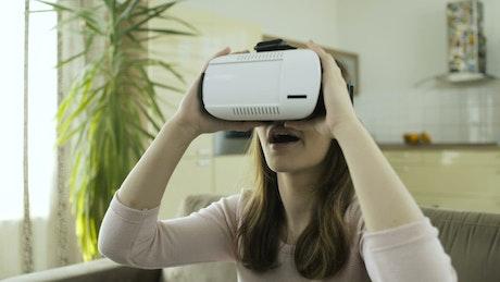 Woman amazed with virtual reality