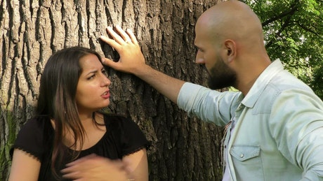 Woman and her match argue in the park