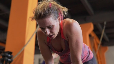 Woman breathing after a workout