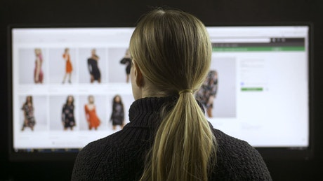 Woman browsing a fashion website, back view