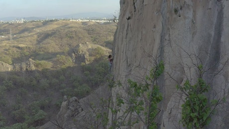 Woman climbing a vertical rocky of a large mountain