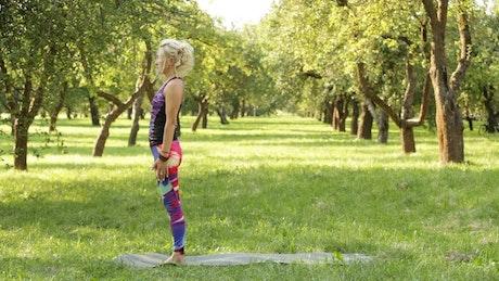 Woman doing Yoga between trees