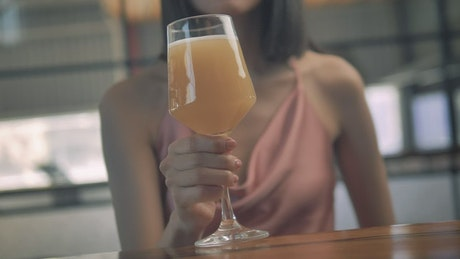 Woman drinking craft beer