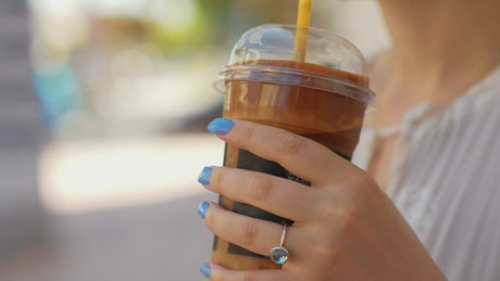 Woman enjoying a chocolate drink
