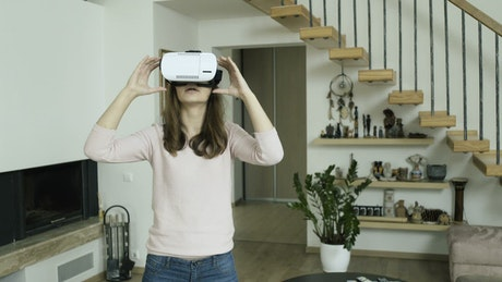 Woman enjoying the virtual reality experience