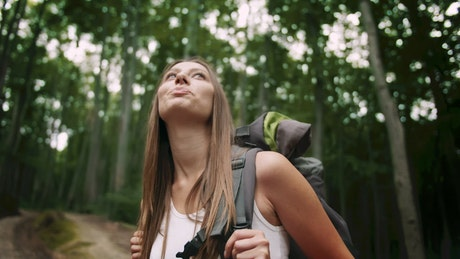 Woman enjoys sights and forest air on hike