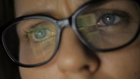 Woman eyes reading social news